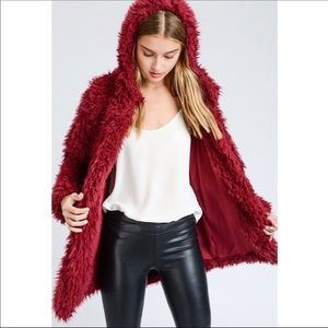 llama faux fur pocket coat